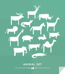 Vector animals set icons.