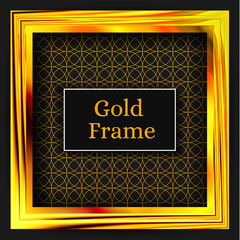Square gold frame. The gold pattern. Art gallery. Element for yo