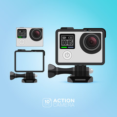 Action camera. illustration. Vector image isolated on blue background.