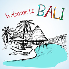 Vew of Bali resort near the water
