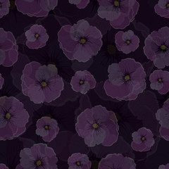 Seamless pattern, transparent flowers against a dark background.