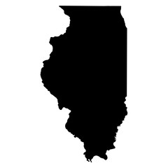 Illinois black map on white background vector