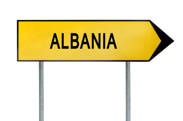 Yellow street concept sign Albania isolated on white
