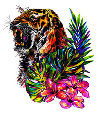 Roaring tiger with tropical flowers and palm leaves and monstera . Figure markers.