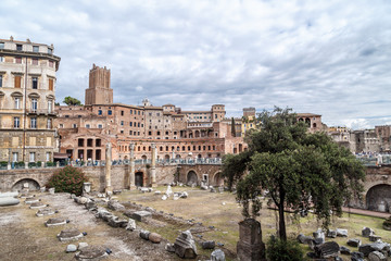 Rome View with Forum Ruins