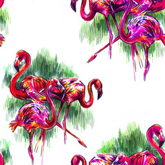 Seamless pattern with tropical plants and a flamingo