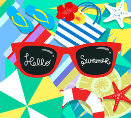 Vector summer background with holiday elements