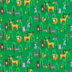 Seamless pattern with different anumals in a forest in cartoon s
