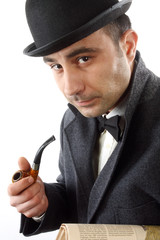 man with   pipe and hat bowler