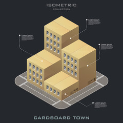 Vector isometric cardboard building icon