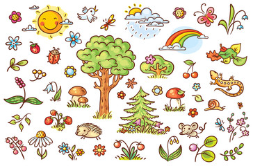 Cartoon nature set with trees, flowers, berries and small forest animals, no gradients