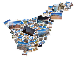 A collage of my best travel photos of Tenerife, forming the shape of Tenerife island, version 6.