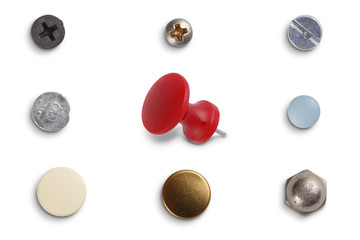 Different screw heads and pins isolated on white with clipping path