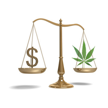classic scale of justice with marijuana and dollar symbol