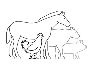 Black outline logo for farmers market. Farm animals logo.