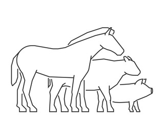 Vector line farm animals. Outline horse, pig, cow and chicken.