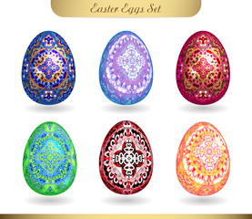 Set of realistic eggs on white background. Easter collection. Vector illustration. White, golden and silver hand draw doodle  ornate pattern on colorful eggs.