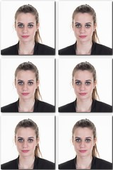 Identification photo of a girl for passport,  collage of 6 id photos