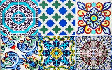 Detail of the traditional tiles from facade of old house in Valencia, Spain