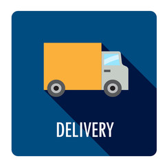 DELIVERY Flat Style Web Button with TRUCK Icon