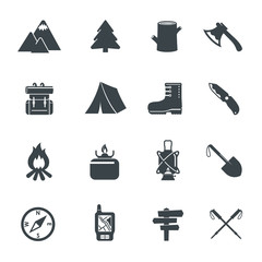 Hiking Equipment Icons.