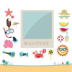 photo frame with beach sticker set to decorate. polaroid. summer