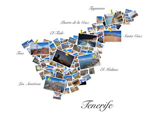 A collage of my best travel photos of Tenerife, forming the shape of Tenerife island.  Yellow pushpin showing the locations of most famous Tenerife Landmarks.