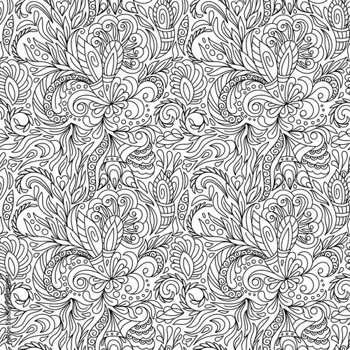 Seamless Borders Vector In Doodle Style Floral Ornate Decorative Valentines Womens Day Design Elements Black And White Background Christmas Tree