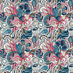 Fantasy flowers seamless paisley pattern. Floral ornament, for fabric, textile, cards, wrapping paper, wallpaper template.