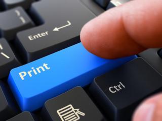 Finger Presses Blue Button  Print on Black Keyboard Background. Closeup View. Selective Focus. 3D Render.