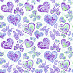 Seamless pattern with colorful vintage blue butterflies, flowers and hearts on white background. Vector illustration
