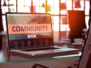 Community Concept Closeup on Laptop Screen in Modern Office Workplace. Toned Image with Selective Focus. 3D Render.
