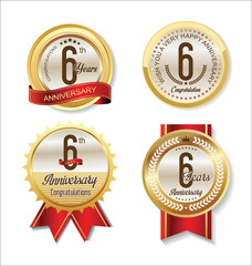 Anniversary Retro vintage golden labels collection 6 years