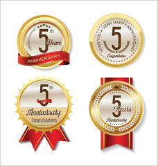 Anniversary Retro vintage golden labels collection 5 years