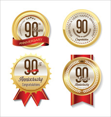 Anniversary Retro vintage golden labels collection 90 years