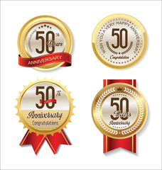 Anniversary Retro vintage golden labels collection 50 years