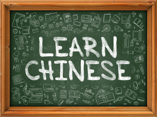 Learn Chinese Concept. Line Style Illustration. Learn Chinese Handwritten on Green Chalkboard with Doodle Icons Around. Doodle Design Style of  Learn Chinese.