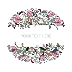 Vector Colorfull Floral Background. Hand Drawn Doodle Ornament with Flowers. Template for Greeting Card