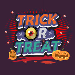trick or treat letters. halloween concept - vector