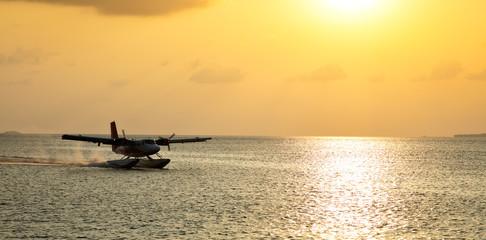 Maldives sea plane in Indian ocean