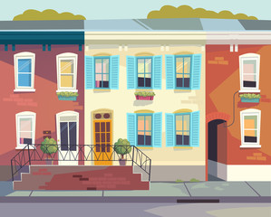 Front doors to the house.  Sunny city street . Cartoon style