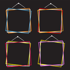 Vector set of hanging picture frames, hand drawn doodle style, isolated on black background.