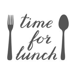 Time for lunch hand made brush lettering