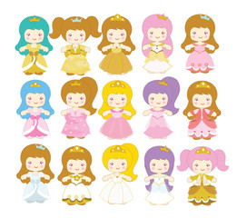 Vector Collection of Cute Princesses on white background.