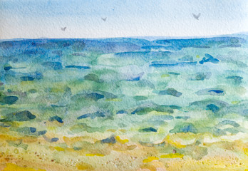 Sea watercolor on paper