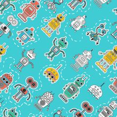 Colorful cartoon robots seamless background. Vector seamless pattern. Amazing artistic wallpaper. Wrapping paper, textile, web page background.
