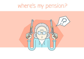 Grandmother cartoon character. Grandmother waiting for a pension. Grandmother looks for pension.  Grandmother outline art. Grandmother angry.  Grandmotherwith a gun