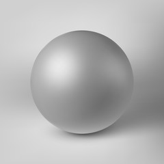 White abstract sphere, pearl with realistic shadow and light background for logo, design concepts, web, presentations and prints. 3D render design. Vector illustration.