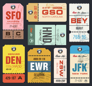 Airline tags. Checklist for Travelers. Vector