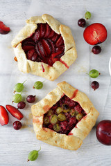 summer galettes with berry and fruits